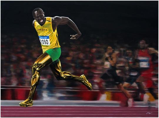 Usain Bolt Depicted In Art By Lee Jones