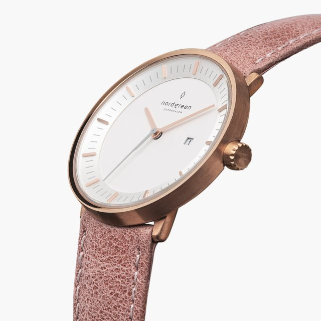 Nordgreen Philosopher - Rose Gold Pink Leather