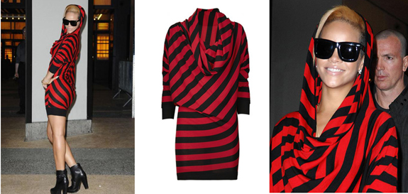 Rihanna-Red-Black-Stripe-Dress-Alexander-McQueen
