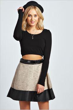 Royah Space Dye PU Trim Skater Skirt with Belt
