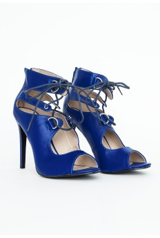 Abi Lace Up Peep Toe Heels In Cobalt Blue £29.99 - Click image to buy
