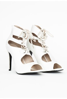 Abi Lace Up Peep Toe Heels In White £29.99 - Click image to buy