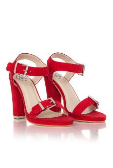 Betsy Faux Suede Heeled Sandals In Red £24.99 - Click image to buy