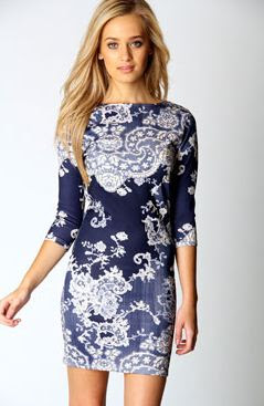Darcey Printed Sleeve Bodycon Dress £12.00 - Click image to buy