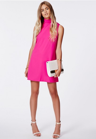 Callie Roll Neck Shift Dress Hot Pink