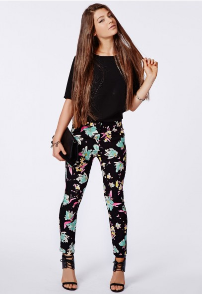 Gwen Floral Print Cigarette Trousers Black