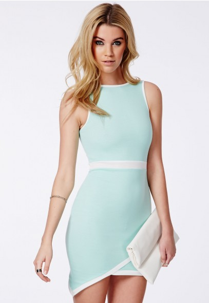 Kena Mint Asymmetric Contrast Mini Dress