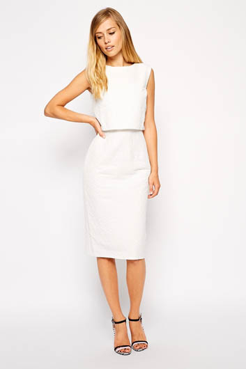 ASOS Pencil Dress with Shell Top in Texture £42.00