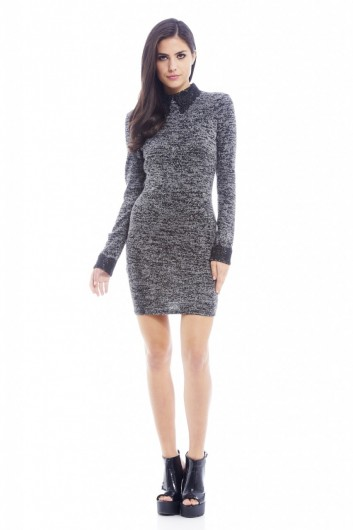 CROCHET COLLAR AND CUFF KNITTED DRESS £25.00