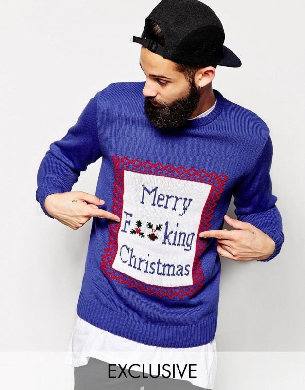 Reclaimed Vintage Christmas Jumper With Merry Christmas