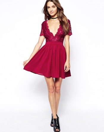 ASOS - Club L Skater Dress with with Scalloped Lace
