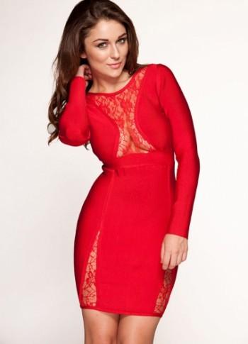 Conna RED LACE LONGSLEEVE BANDAGE DRESS