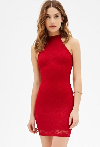 FOREVER 21 - Floral Lace Halter Dress