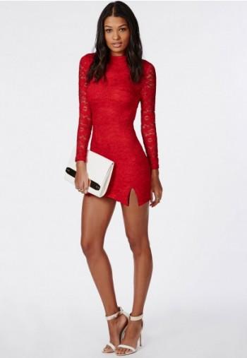 MISSGUIDED - Lace long sleeve side split bodycon dress