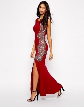 ASOS - Lipsy Fishtail Maxi Dress With Lace Sides