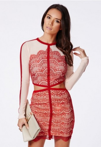 MISSGUIDED - Rosario red cout out lace panel mini dress