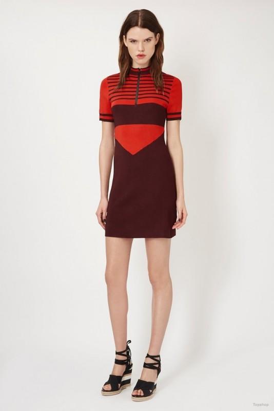 Topshop Unique Stripe Knitted Dress