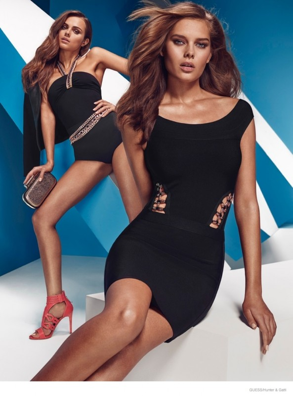 Little black dress anyone? A similar Guess by Marciano swimsuit style is also featured