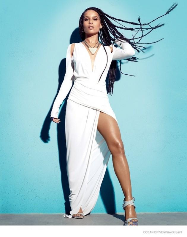 Zoe Kravitz models a Philipp Plein dress in white