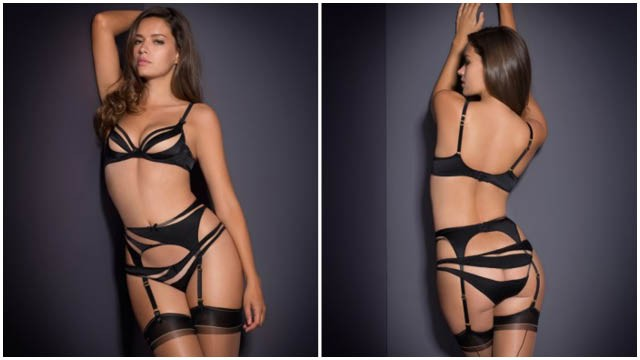 Evalyne by Agent Provocateur is a stunning foray into the art of illusion. The suspender is made from asymmetric panels of jet black silk satin and barely-there tulle which sweep around the form, giving the effect of broad licks of black paint caressing the body and allowing dramatic peeks of skin at the front and rear. Eye-catching and alluring without being too revealing, the smooth lines of this range help to create pieces that are capable of making every day go with a bang. A delicate bow on the centre front waistband and matching black suspender straps complete this alluring style.