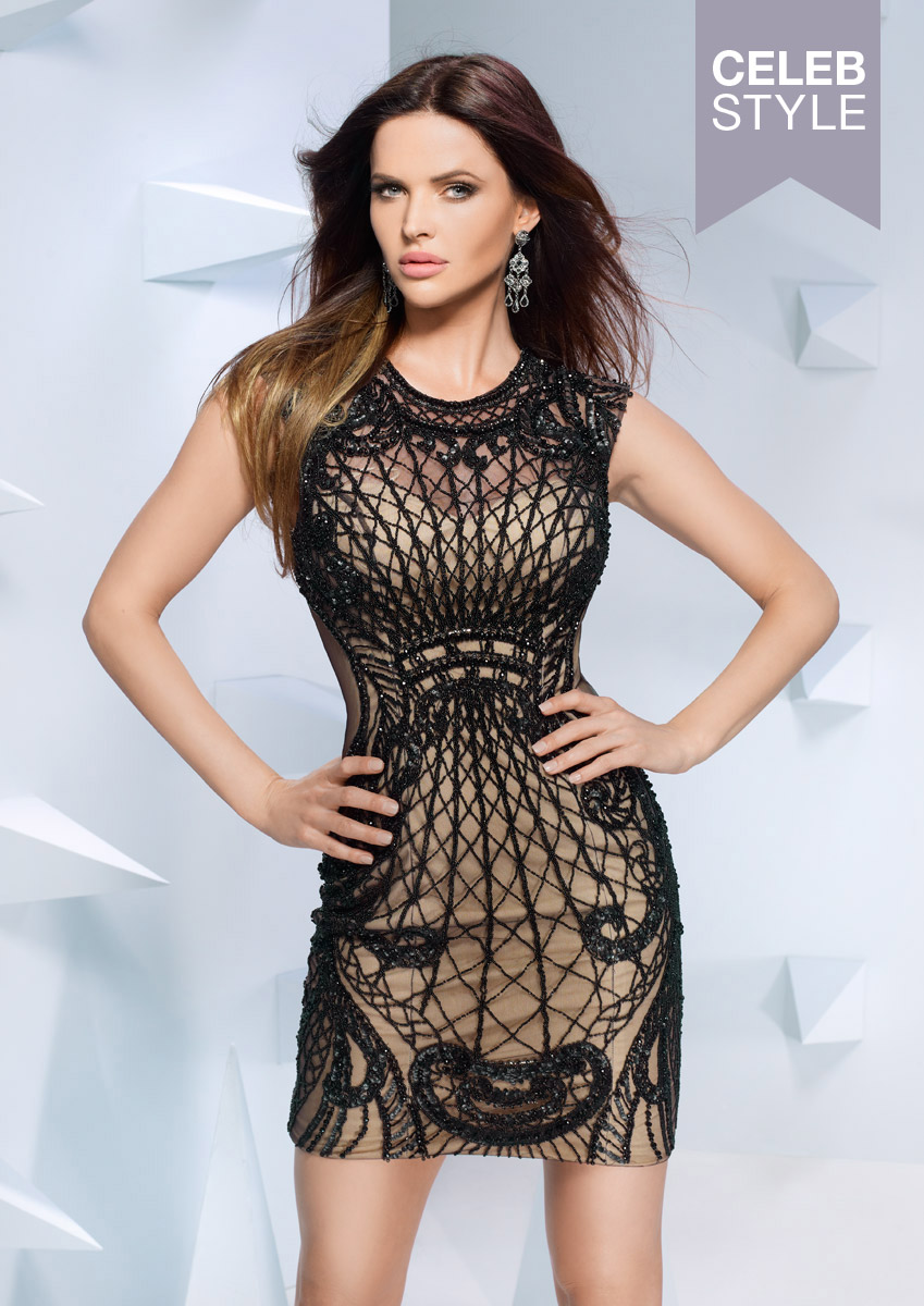 ALIZA - Black fitted dress with textured beaded pattern was £700.00 now £280.0