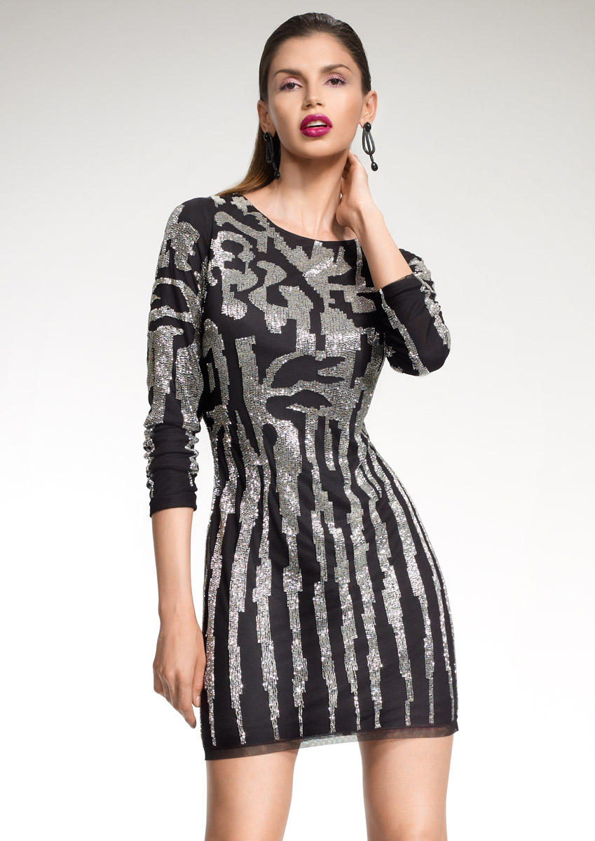 ASH - Black silver beaded shift dress was £350.00 now £140.00