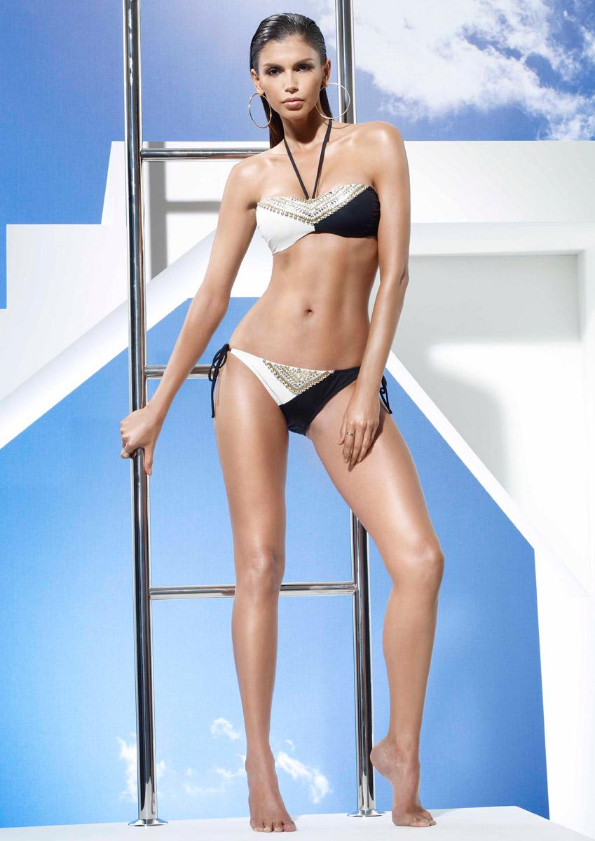 BAY - Black and Ivory Colour Block Bikini Set
