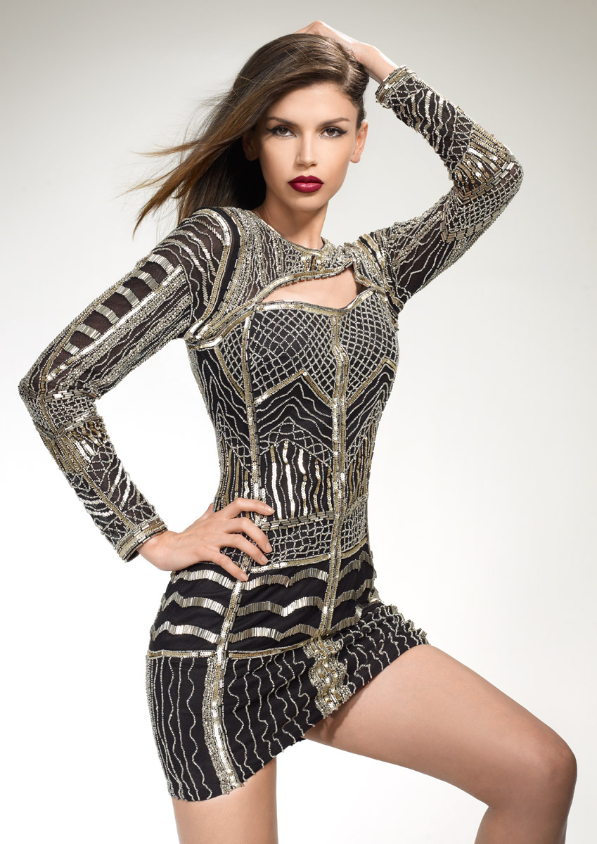 NIKKI - Fully embellished fitted mini dress was £550.00 now £220.00