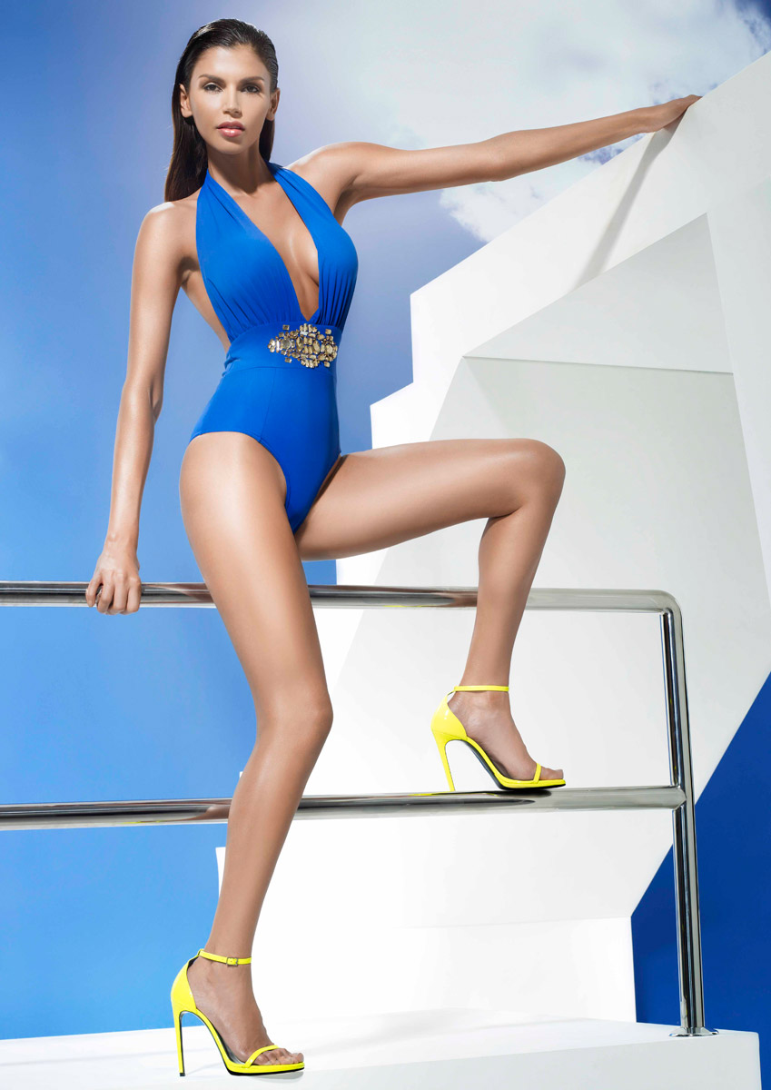 PADGENT - Sax Blue Swimsuit with Embellished Waist Detail