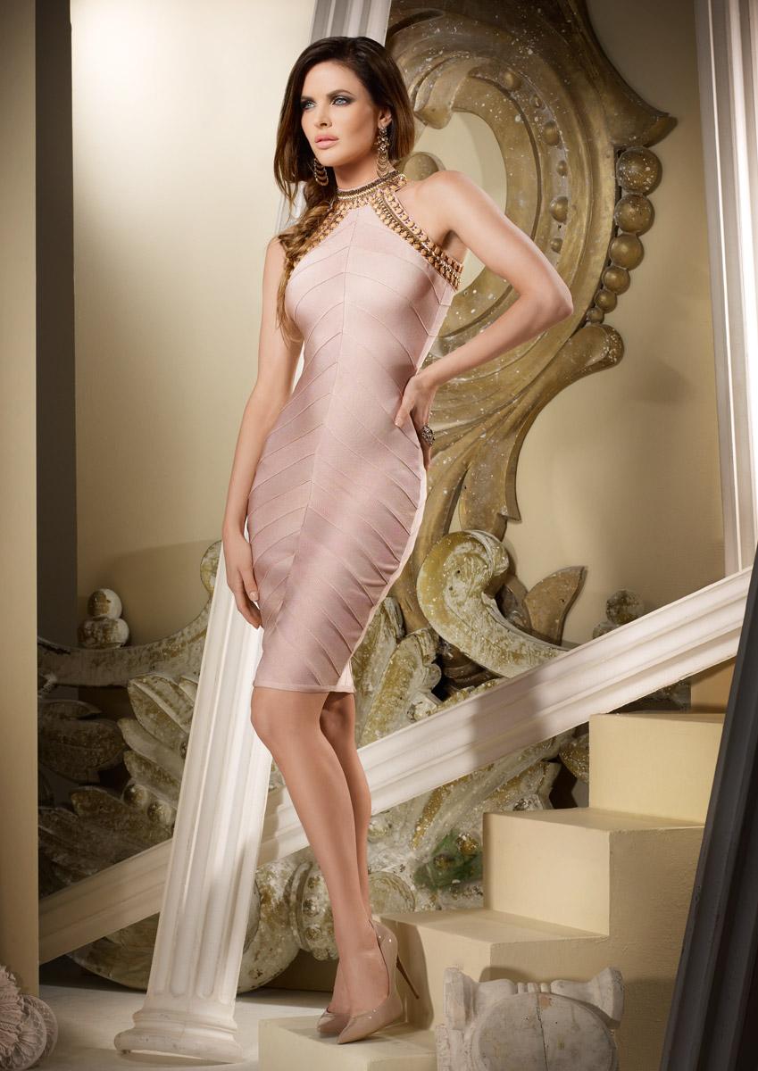 PENELOPE - Nude chevron panelled bandage dress was £300.00 now £120.00