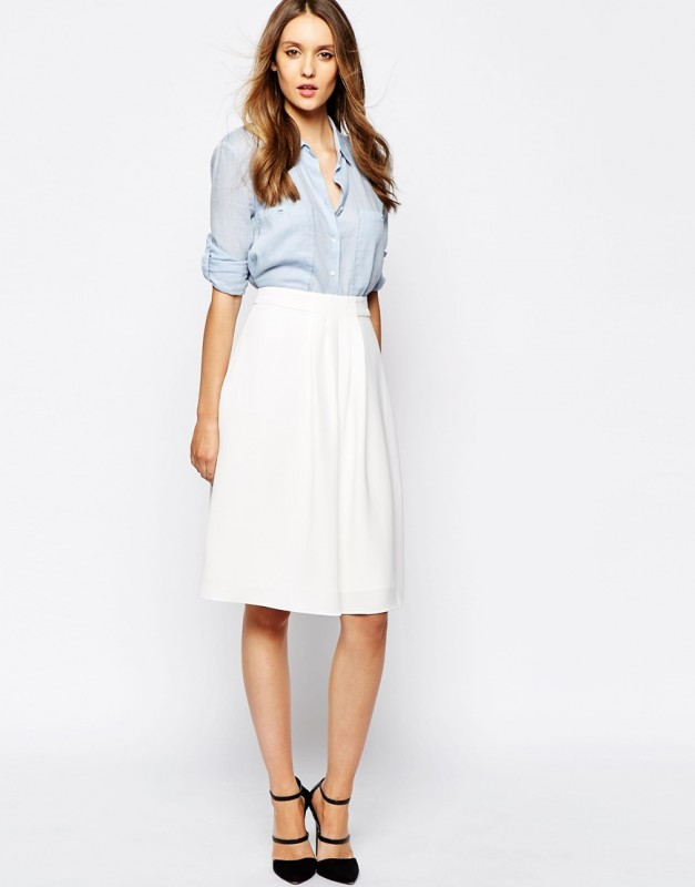 Reiss Margot Skirt with Front Pleat Detail on ASOS