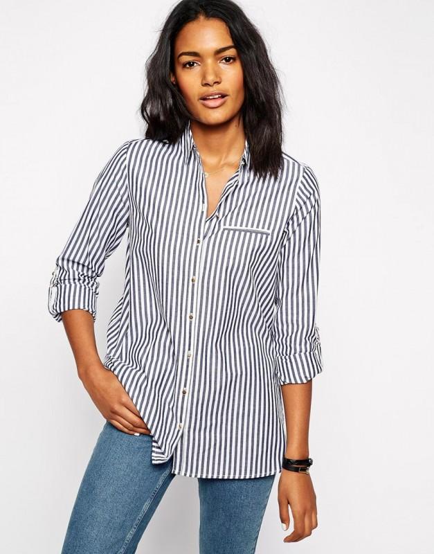 River Island Stripe Preppy Shirt on ASOS