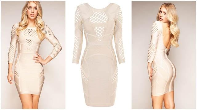 Selena - NUDE MID SLEEVE BANDAGE DRESS Was £149.00 Now £70.00