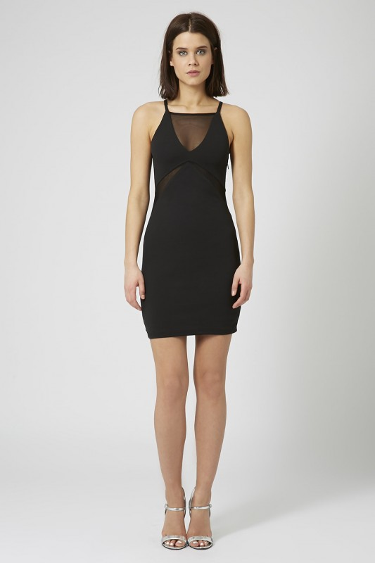 TopShop Strappy Mesh Panel Bodycon Dress by Rare £38.00