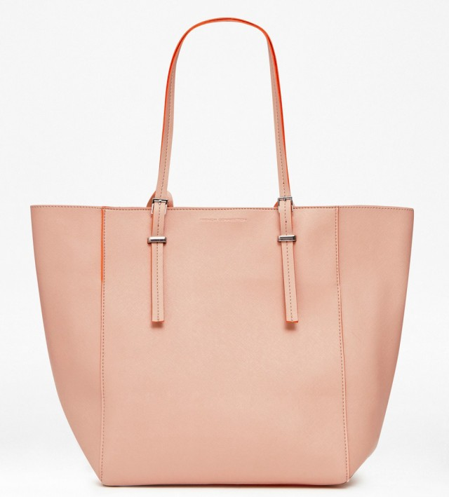 French connection penelope shopper bag in peach nasturium