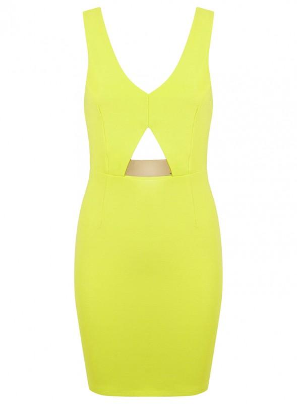 Lime V Metal Bar Dress - Price- £45.00