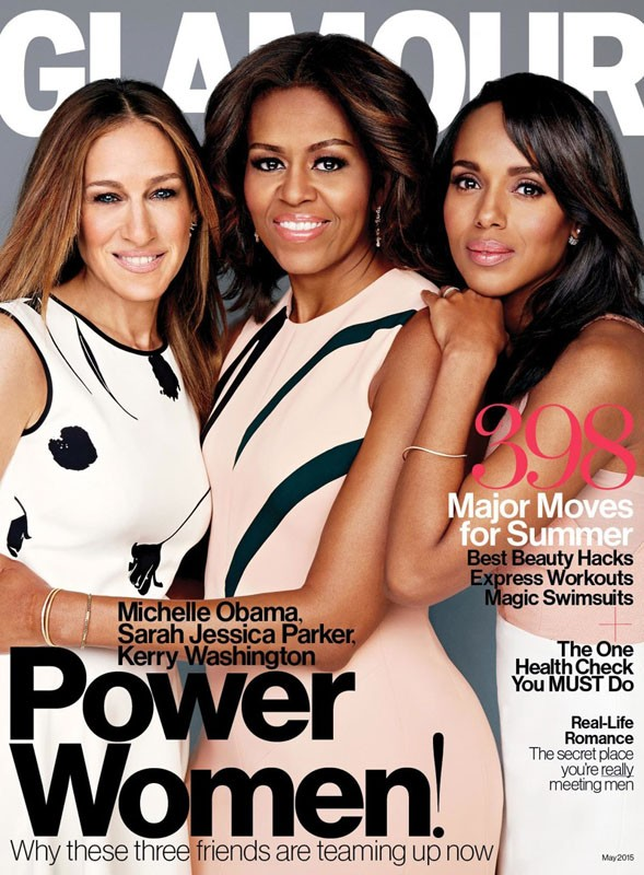 Michelle Obama, Sarah Jessica Parker and Kerry Washington glamour magazine cover 2015 full