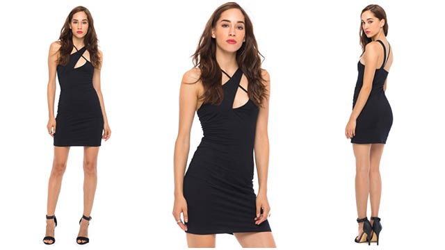 Motel Monique Strappy Bodycon Dress in Black
