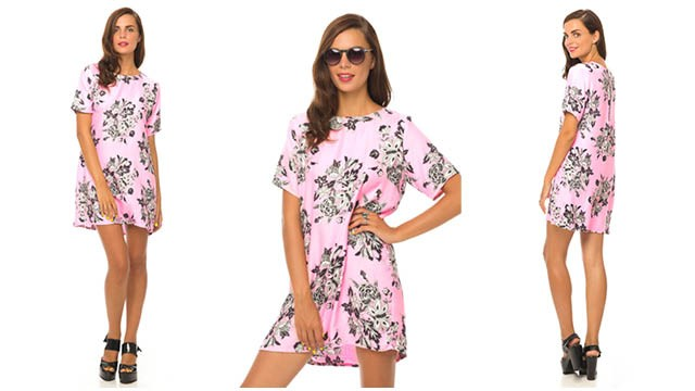Motel Petal Shift Dress in Pink Morris Flower