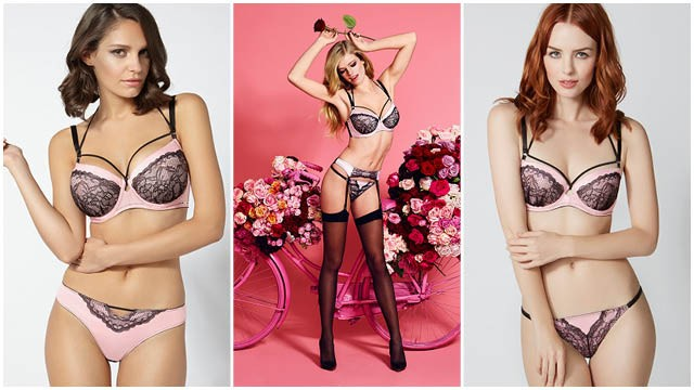 Perfectly pretty and sensually seductive, we adore this strappy balconette bra in sugary pink. Contrast black lace adorns the satin cups while removeable strap detailing adds a modern edge to an otherwise feminine bra. Keyhole detailing (in sizes up to DD) and black satin covered straps complete this luxe look.