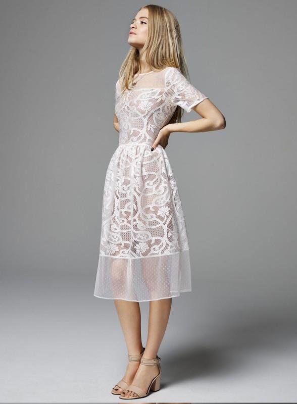 White Dobby Lace Midi Dress Price - £49.00