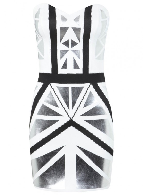 White bandeau bodycon with silver and black metallic panels