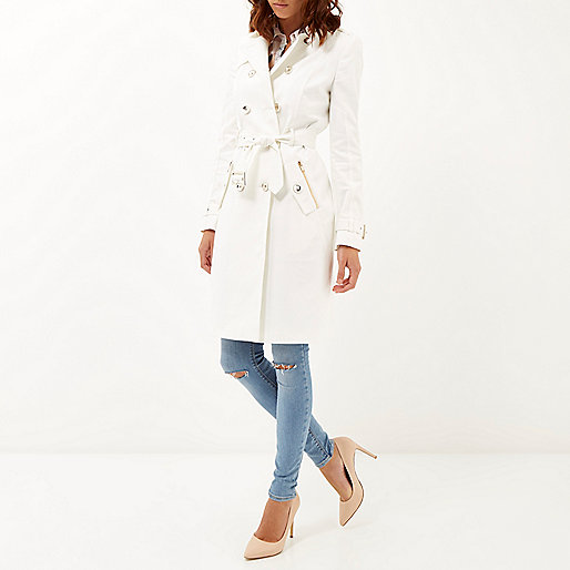 river island white trench coat