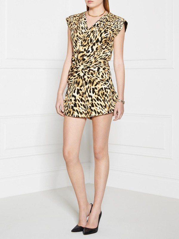 FINDERS KEEPERS Fast Lane Playsuit - Leopard Print