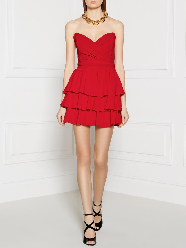 PPQ CREAM LABEL Strapless Cocktail Dress - Red