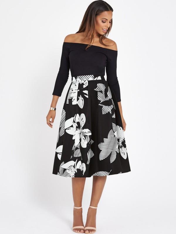 Rochelle Humes Printed Full Midi Skirt