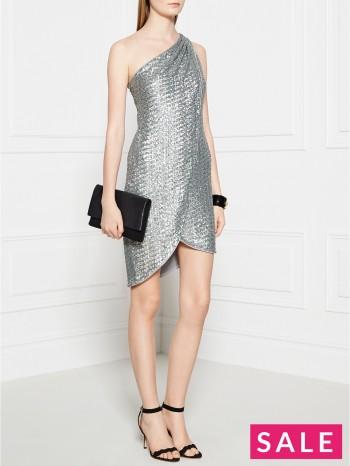 HALSTON HERITAGE Sequin Cocktail Dress - Gunmetal
