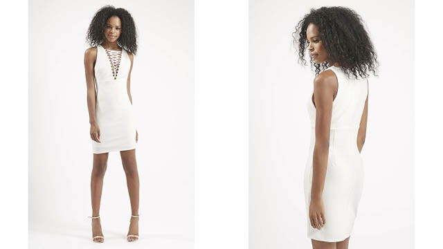 Lace Up Front Bodycon Dress topshop