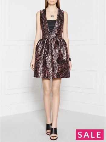 MCQ ALEXANDER MCQUEEN Foil Print Long V-Neck Dress - Mauve