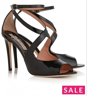 VIVIENNE WESTWOOD Patent Crossover Sandals - Black